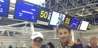 Ксения Лутова с пилотом Формула 1 «Naas» Романом Грожаном